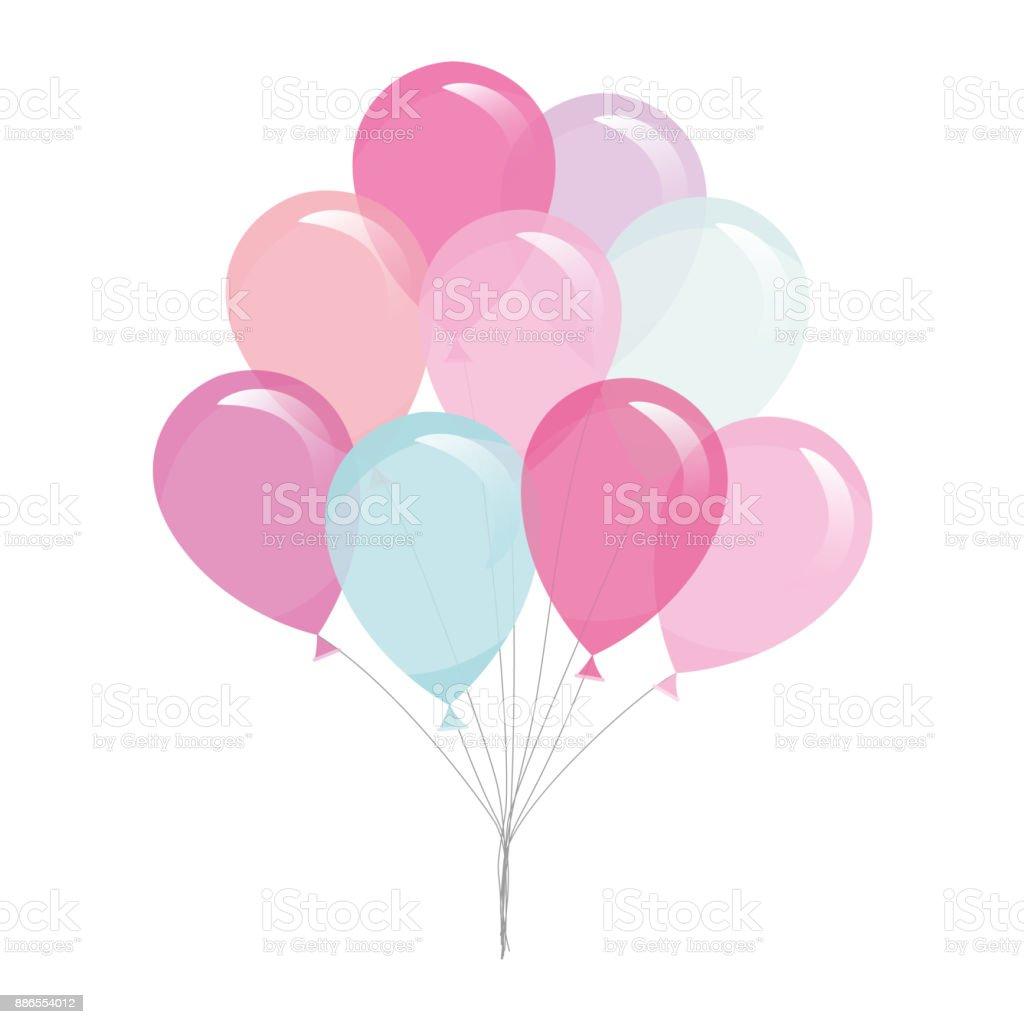 Balões coloridos e transparentes isolados no branco. - ilustração de arte em vetor