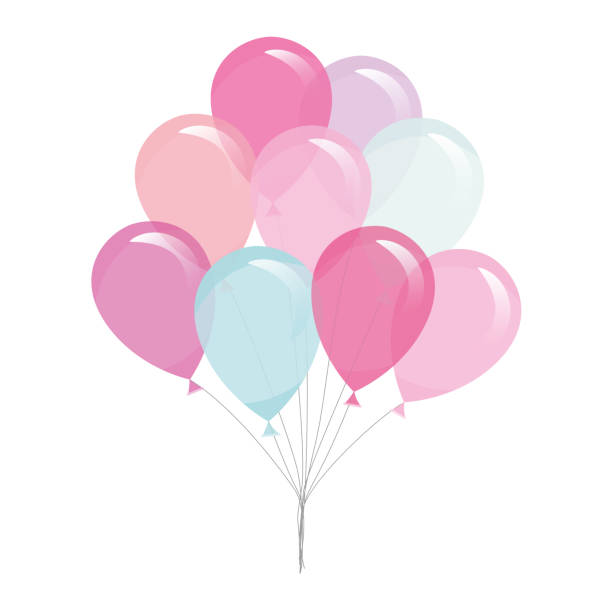 colorful transparent balloons isolated on white. - воздушный шарик stock illustrations