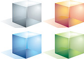 Four colored transparent cubes isolated on white.