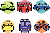 Vector icons with a transportation theme.