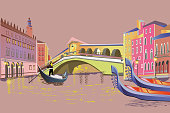 istock Colorful travel background with the Grand Canal in Italy. 1073661836