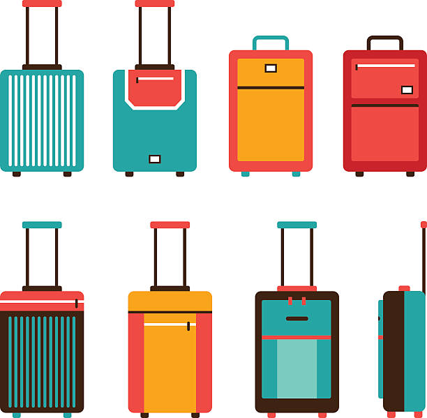 Colorful travel bag icon set Carry on luggage collection Colorful travel bag icon set Carry on luggage collection Vector illustration carry on luggage stock illustrations