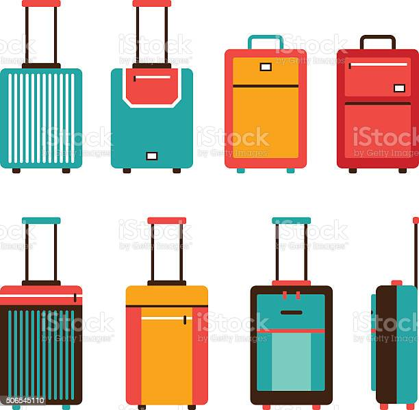 Colorful Travel Bag Icon Set Carry On Luggage Collection Stock Illustration - Download Image Now