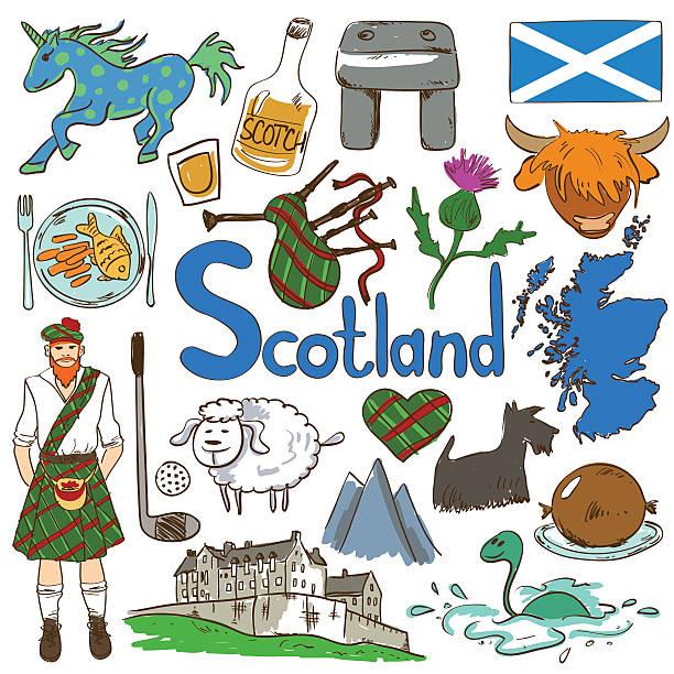 colorful travel concept of scotland symbols. - haggis stock illustrations, clip art, cartoons, & icons
