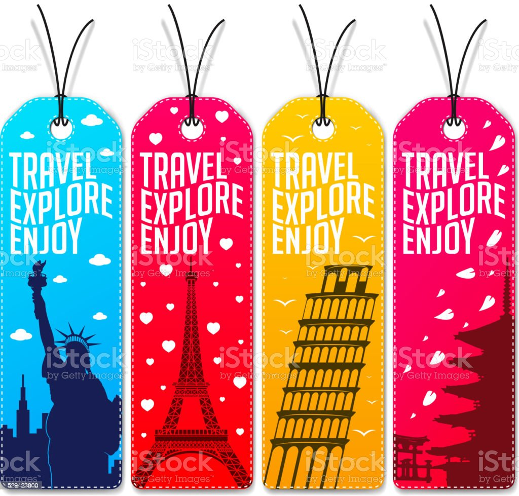 Colorful Travel Explore Enjoy Beautiful Tags or Bookmarks vector art illustration