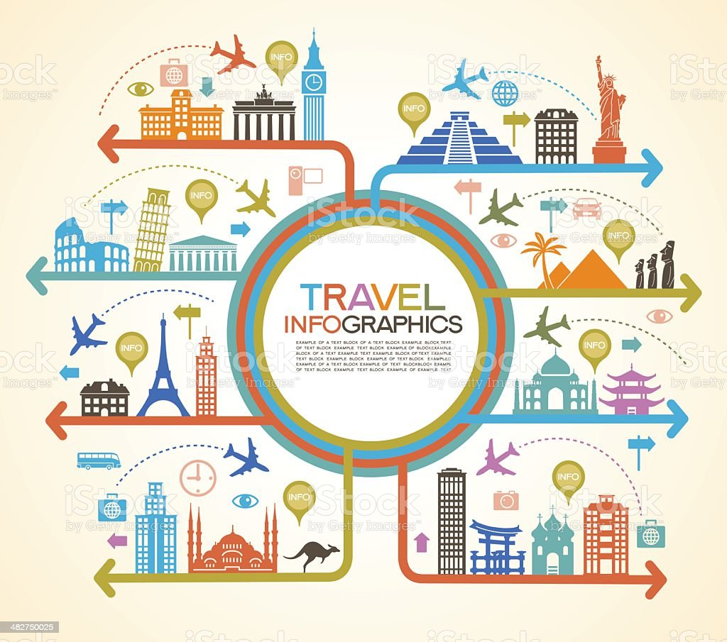 Colorful travel infographics with famous landmarks vector art illustration