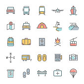 A set of colorful travel minimalist line icons.