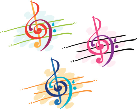 Three color versions of treble and bass clef illustration
