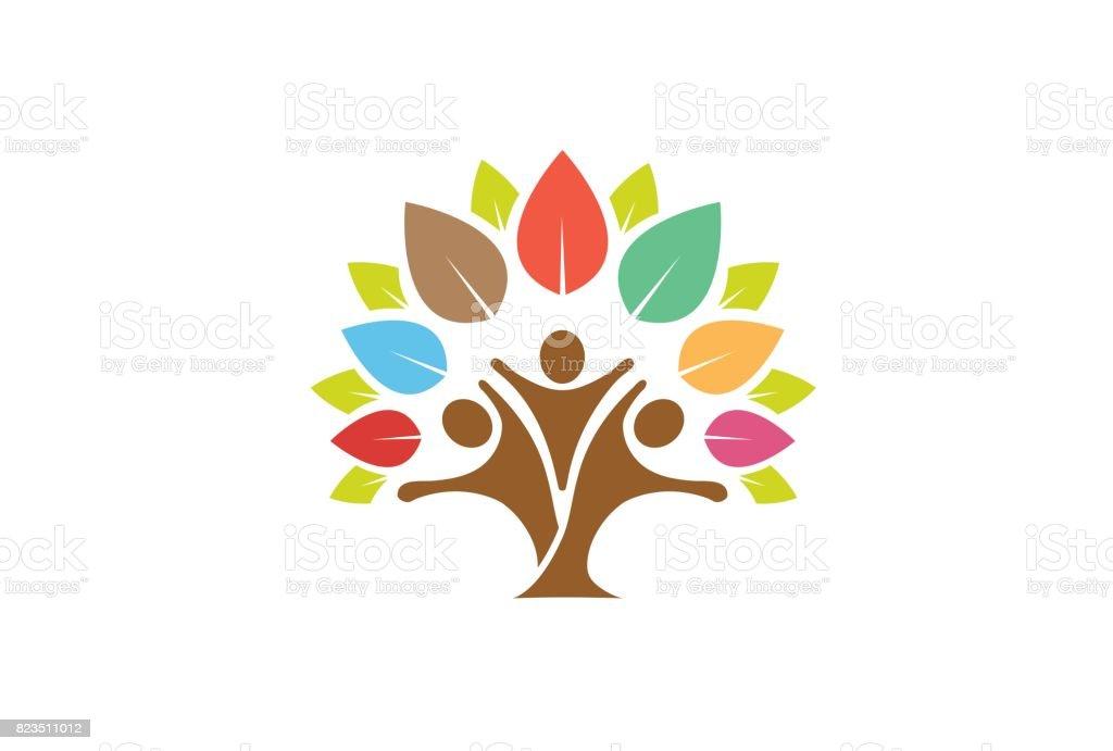 Colorido árbol símbolo familiar diseño - ilustración de arte vectorial