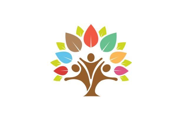 ilustraciones, imágenes clip art, dibujos animados e iconos de stock de colorido árbol símbolo familiar diseño - logos de médico