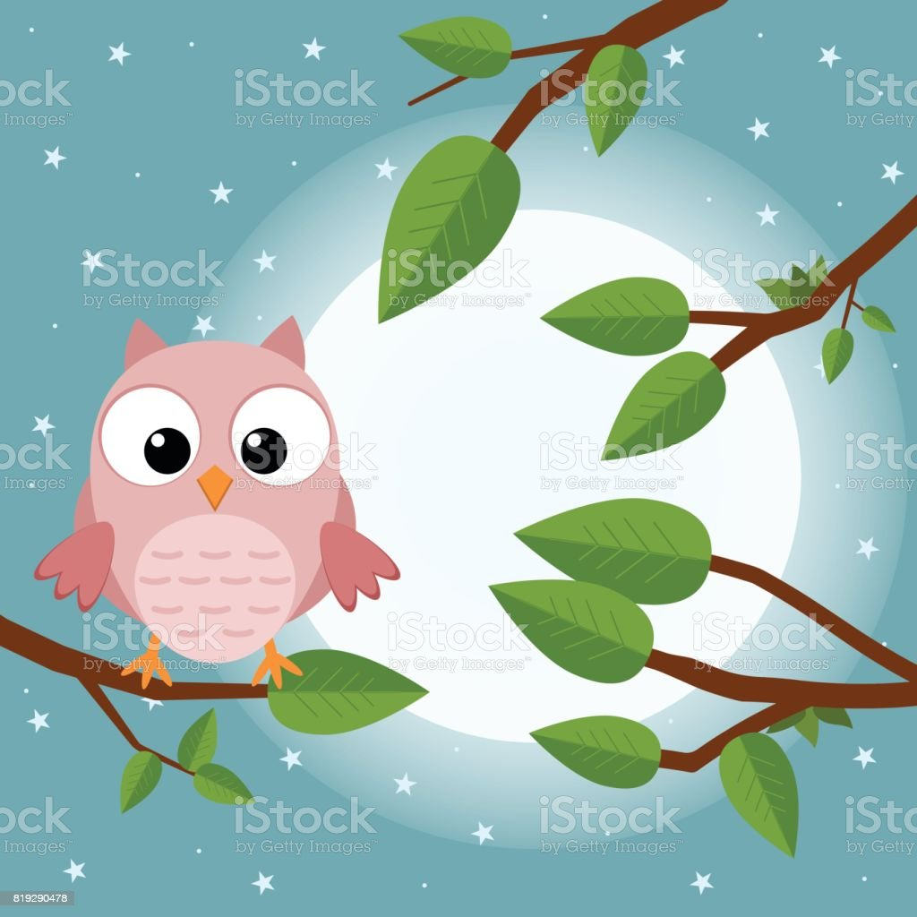 Colorful Tree With Cute Owl Cartoon Bird In Moon Forest Flat Vector ...