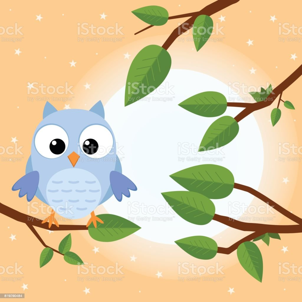 Colorful Tree With Cute Owl Cartoon Bird In Sunny Forest Flat Vector ...