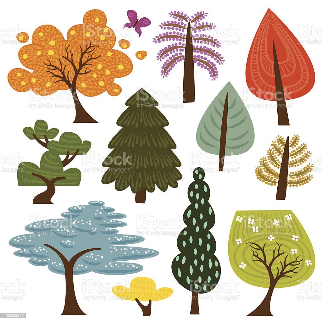 Colorful trees vector art illustration