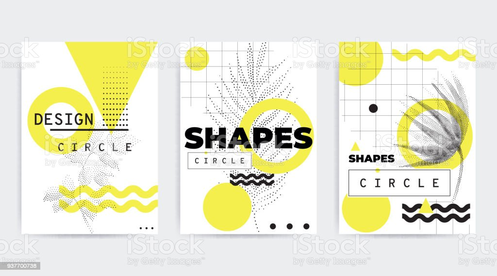 Colorful trend geometric composition vector art illustration