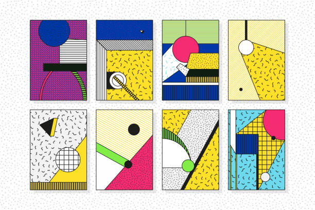 Colorful trend geometric pattern set Colorful trend 90s 80s style geometric pattern set juxtaposed with bright bold blocks of color zig zags, squiggles, erratic images. Design background elements composition. Magazine, leaflet, billboard kitsch stock illustrations