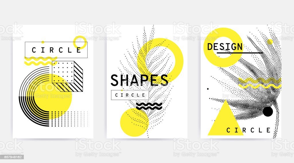 Colorful trend retro geometric pattern