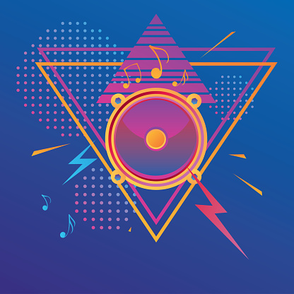 Colorful trendy electronic music design - speaker and notes