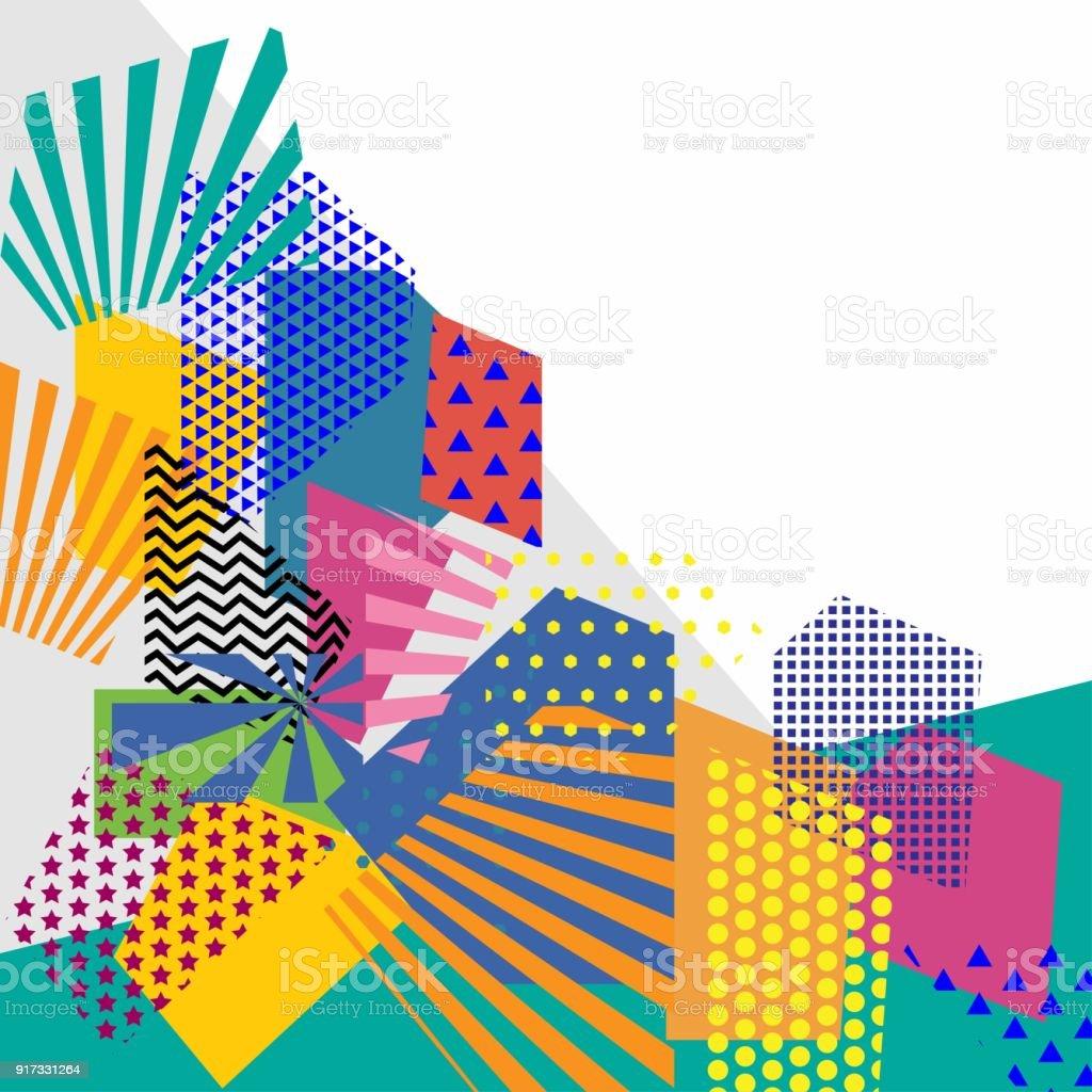 Colorful Trendy Geometric Flat Elements Of Pattern Pop Art