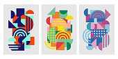istock Colorful trendy geometric shapes flat elements of a pattern. Pop art style texture. Modern abstract design for poster and cover template background. Vector illustration 1205660512