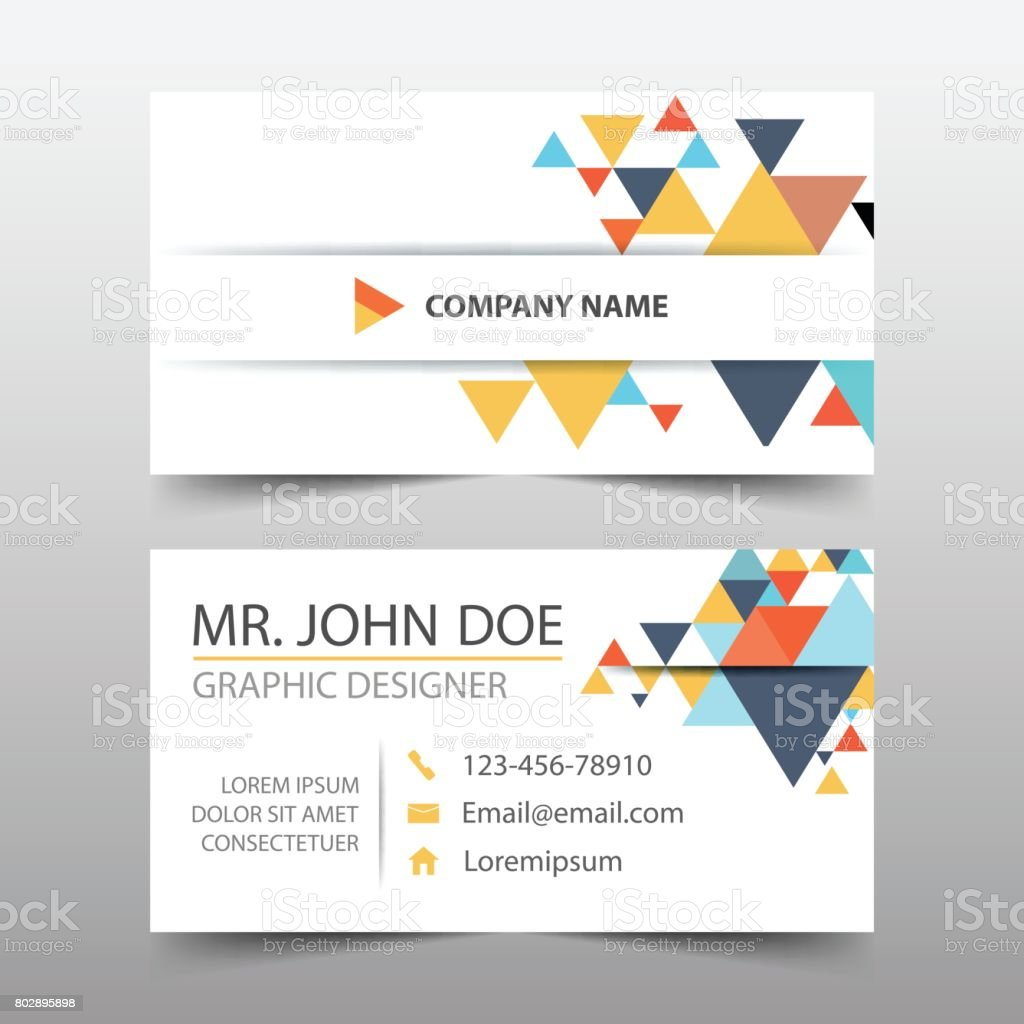 Colorful triangle corporate business card name card template colorful triangle corporate business card name card template horizontal simple royalty free colorful reheart Choice Image