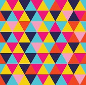 Colorful triangle geometric seamless pattern