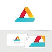 Colorful triangle logo with rounded corners vector isolated on white