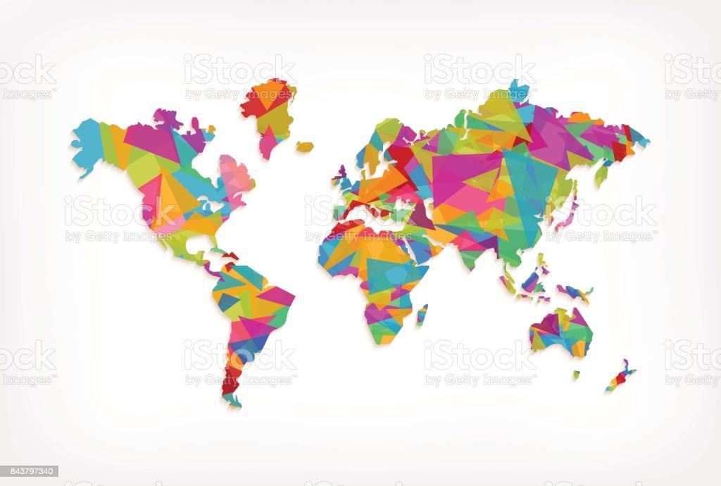 Colorful triangle world map concept illustration vector art illustration