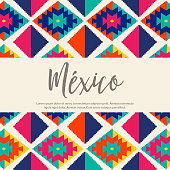 Colorful Tribal Embroidery Style Composition – México Copy Space
