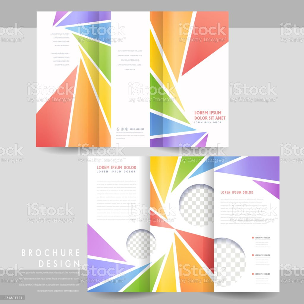 colorful trifold brochure template design stock vector art more