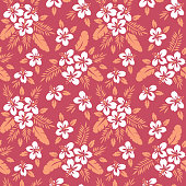Colorful Tropical Exotic Foliage, Hibiscus Floral Vector Seamless Pattern. Lush Tropical Palm Leaves