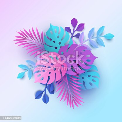 Colorful tropical leaves background in modern paper cutting style. Bouquet, pastel botanical backdrop, jungle nature, bright colors of blue, pink and purple hues. Digital craft style