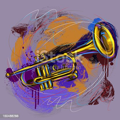 Colorful Trumpet, all elements are in separate layers and grouped.created as