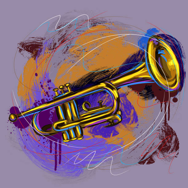 stockillustraties, clipart, cartoons en iconen met colorful trumpet - trompet