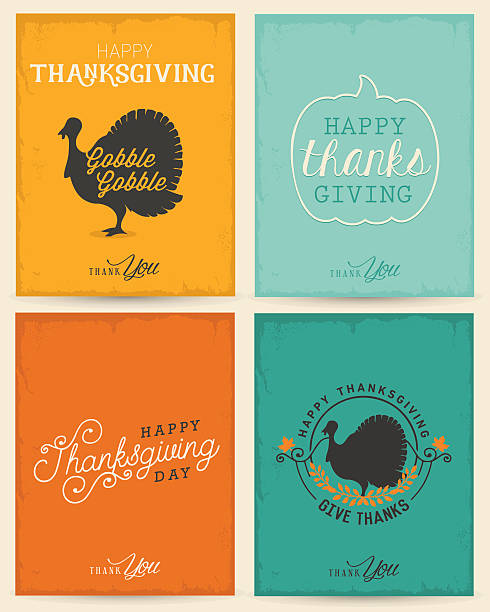 Colorful Typographical Thanksgiving Greeting Card Set vector art illustration