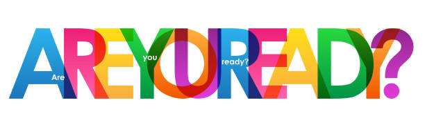 вы готовы? красочный баннер типографии - приводить в порядок stock illustrations