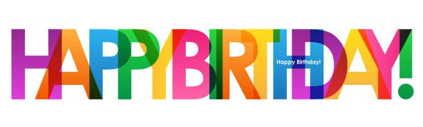 ilustraciones, imágenes clip art, dibujos animados e iconos de stock de ¡feliz cumpleaños! banner de tipografía colorida - cumpleaños