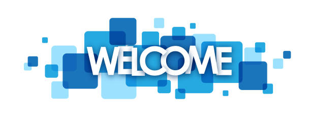 WELCOME colorful typography banner WELCOME vector concept word typography banner on blue squares greeting stock illustrations