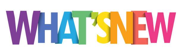 ilustrações de stock, clip art, desenhos animados e ícones de what's new colorful typography banner - new