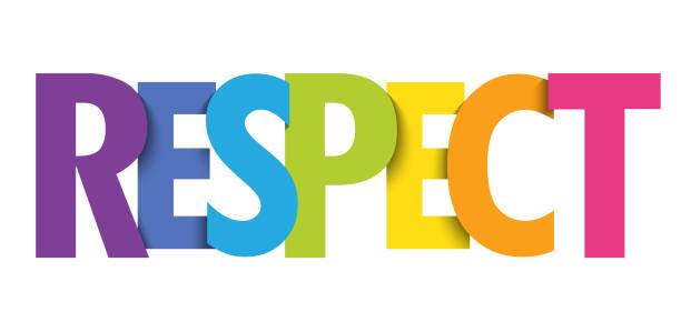 RESPECT colorful typography banner RESPECT colorful vector typography banner dignity stock illustrations