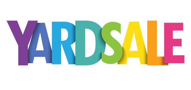 yard verkauf bunte typografie banner - upcycling stock-grafiken, -clipart, -cartoons und -symbole