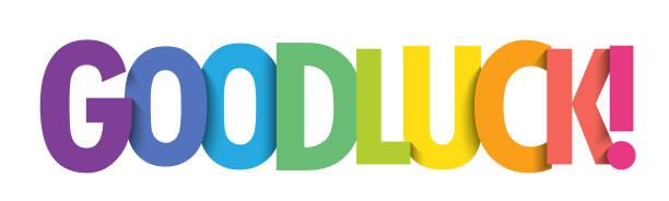 ilustrações de stock, clip art, desenhos animados e ícones de good luck! colorful typography banner - wish