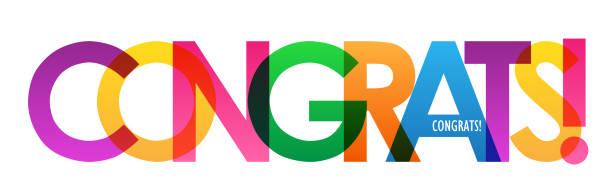 stockillustraties, clipart, cartoons en iconen met congrats! kleurrijke typografie banner - feliciteren