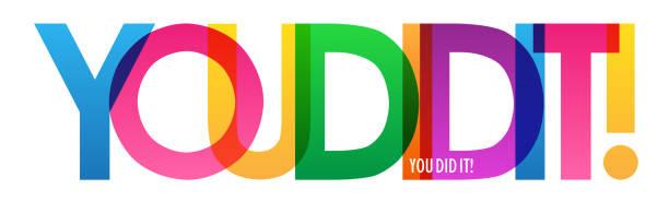 illustrations, cliparts, dessins animés et icônes de tu as réussi! bannière de typographie colorée - lycée