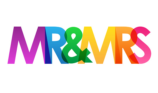 MR & MRS colorful vector typography banner