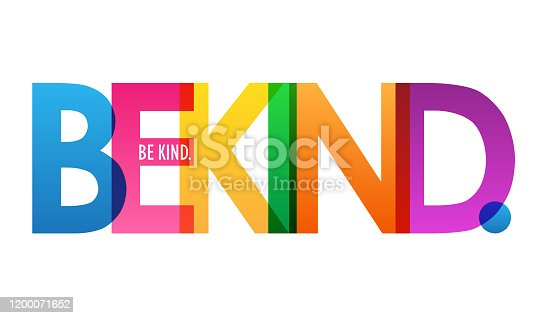 BE KIND. rainbow-colored vector typography banner