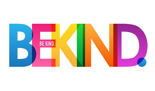BE KIND. colorful typography banner