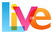 LIVE colorful vector inspirational words typography banner