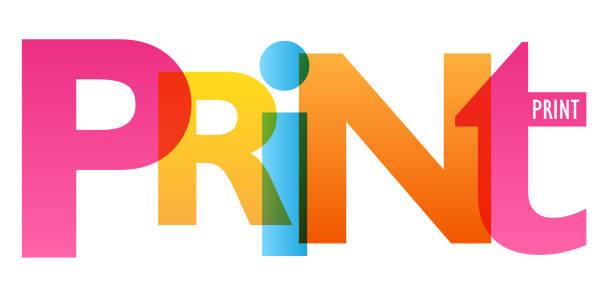 illustrazioni stock, clip art, cartoni animati e icone di tendenza di print colorful typography banner - cmyk