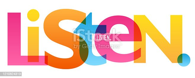 LISTEN colorful vector concept word typography banner
