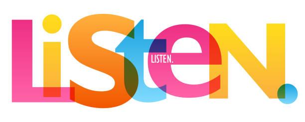 bildbanksillustrationer, clip art samt tecknat material och ikoner med lyssna färgstark typografi banner - listen